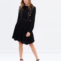 Fashion Loose Women Dress 3 4 Sleeve Spring Casual Work Wear Dress Black Simple American Design Clothes For Ladies