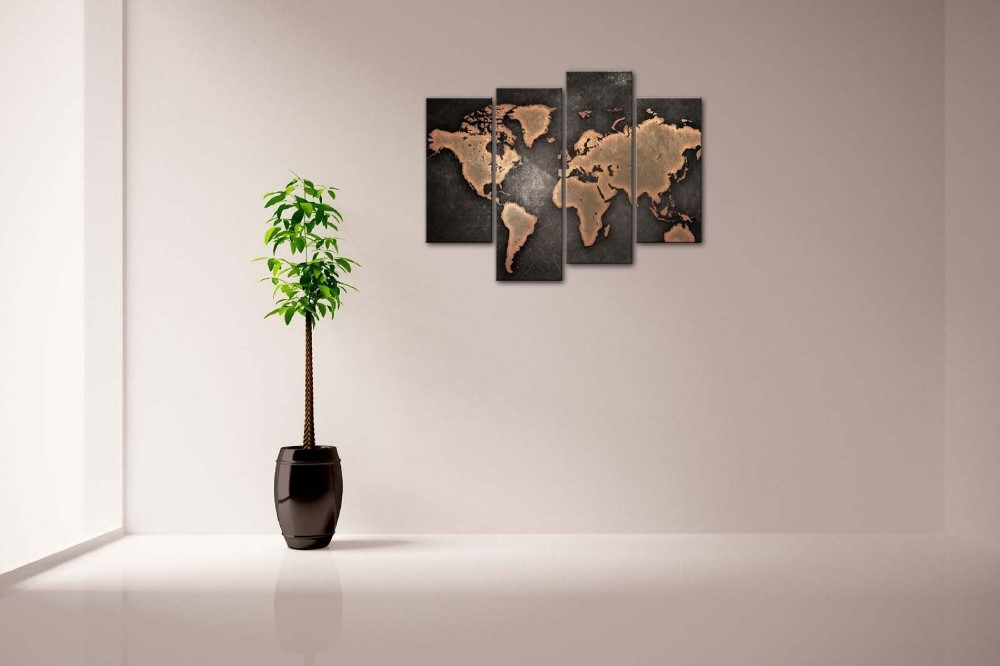 General World Map Black Background Wall Art Painting Pictures Print On Canvas Art For Home Hotel Modern Decoration