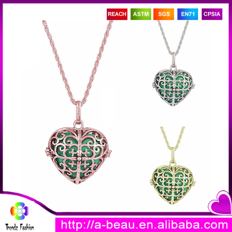T07 Fashion Jewelry 2017 Harmony Bola MY Heart Angel Caller Bell Pregnancy Heart Locket Pendant Necklace