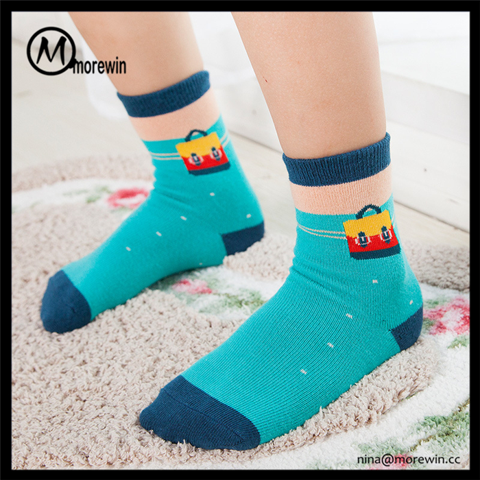 Morewin brand OEM services custom cotton cartoon jacquard fashion warm autumn fancy baby sock for 3-4 years old