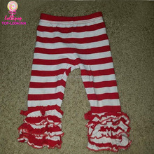 High quality kids cotton ruffle pant trousers clothing children Pants sew sassy Boutique wider red striped Icing Ruffle Legging