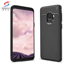 High Quality Lychee Leather Grain Soft TPU Back Mobile Phone Cover for Samsung S9 Case,For Galaxy S9 Case