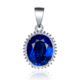 POLIVA Classic Elegant Oval Shape Simulated Blue Sapphire Cubic Zirconia CZ 925 Sterling Silver Pendant