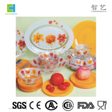 Clear Glass Dinner Plate With Flower Design / Fruit Clear Plate