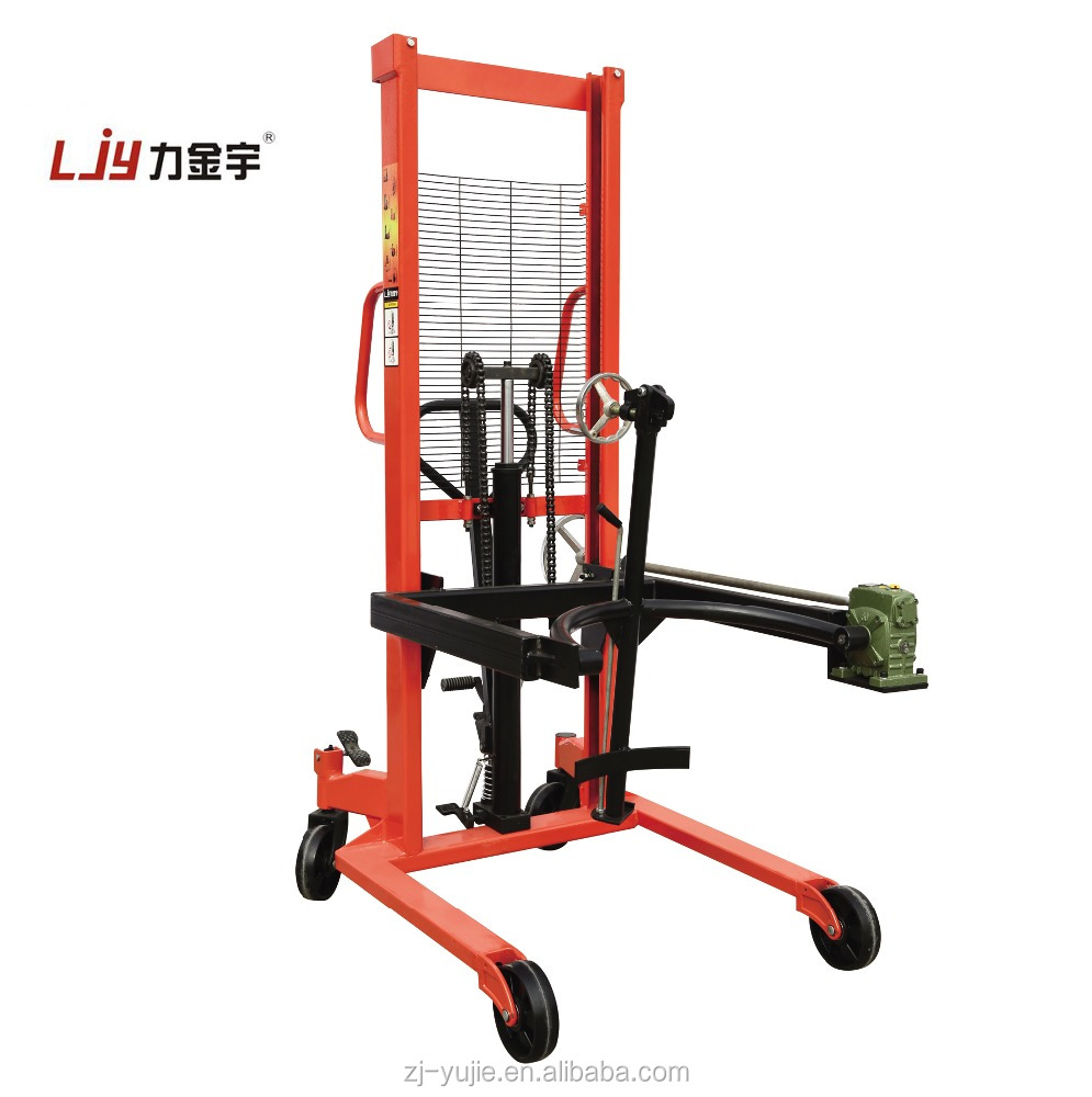 Hot 0.35 tons manual hydraulic oil drum stacker