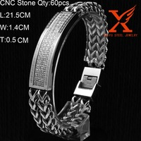 In Stock Wide ID Bracelet Stainless Steel CNC Setting Bracelet for Most Popular Products