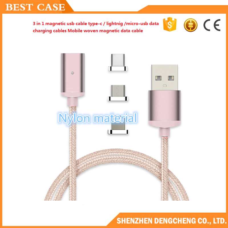 3 in 1 magnetic usb cable type-c charging cable adapter