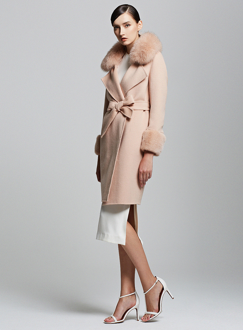 Camel 100% Pure Cashmere Trench Coat with Fluffy Fur Collar