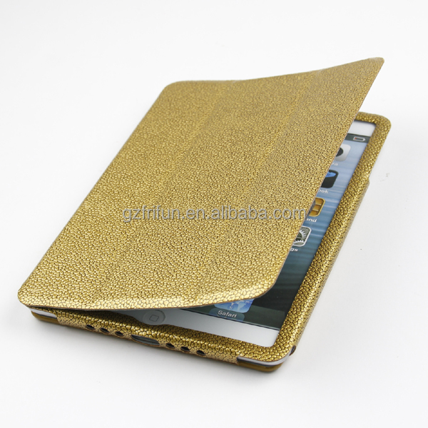 Fashion golden three fold flip leather computer case for ipad mini