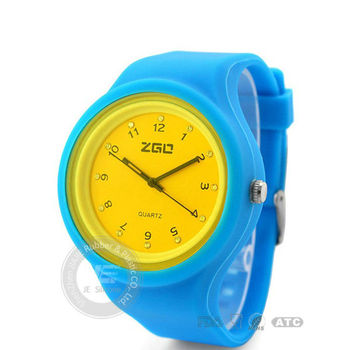 Fashion round silicone Jelly Watch Unisex Quartz Silicone Wrist Watches Candy