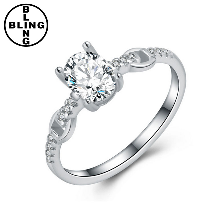>>>Genuine Engagement Wedding Silver Jewelry , 925 Sterling Silver Ring With Rhodium Plated
