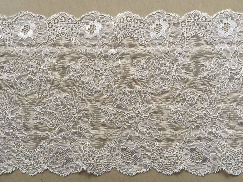 Whole sale hand cut stretch lace trim with scallop edge for lingerie garment