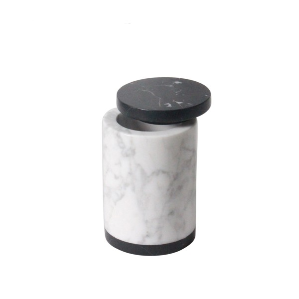Carrara White Marble Candle Holder Candle Jar with Copper Lid
