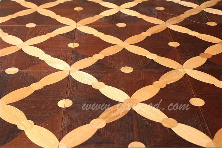 Dirt resistant Carbonized oak white oak wood parquet flooring classic design dark color