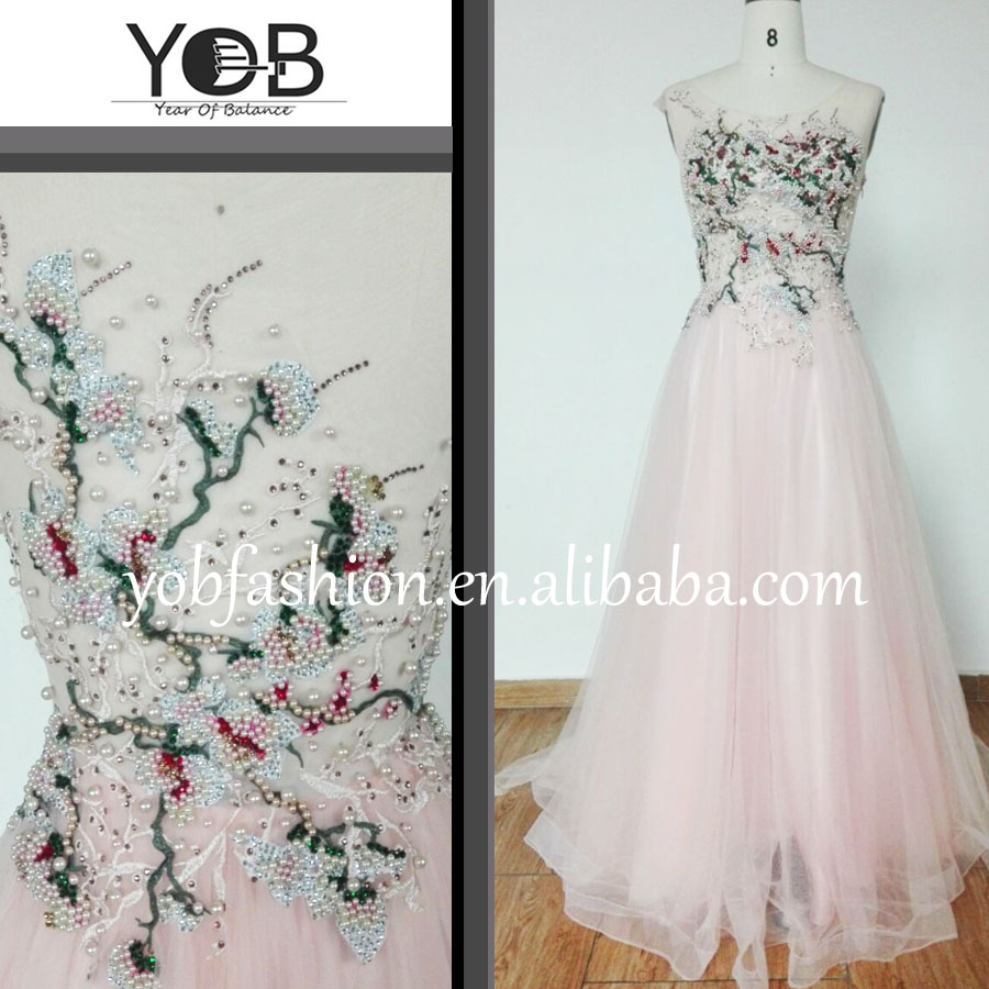 Spring Flowery beading great quality blush long evening dresses from Chaozhou sparkling sleeveless homecoming dresses