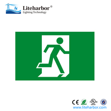 Ni-cad battery backup single face edge lit running man exit sign without arrow