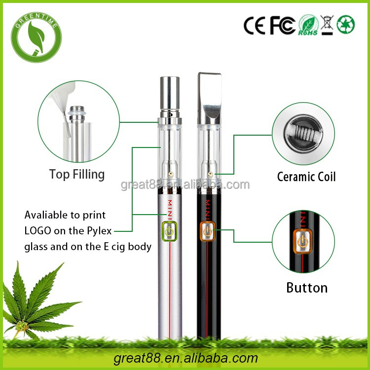 Greentime new products 300mah 0.5ml cbd hemp oil e vaporizer vaping devices with ceramic heating coil free sample