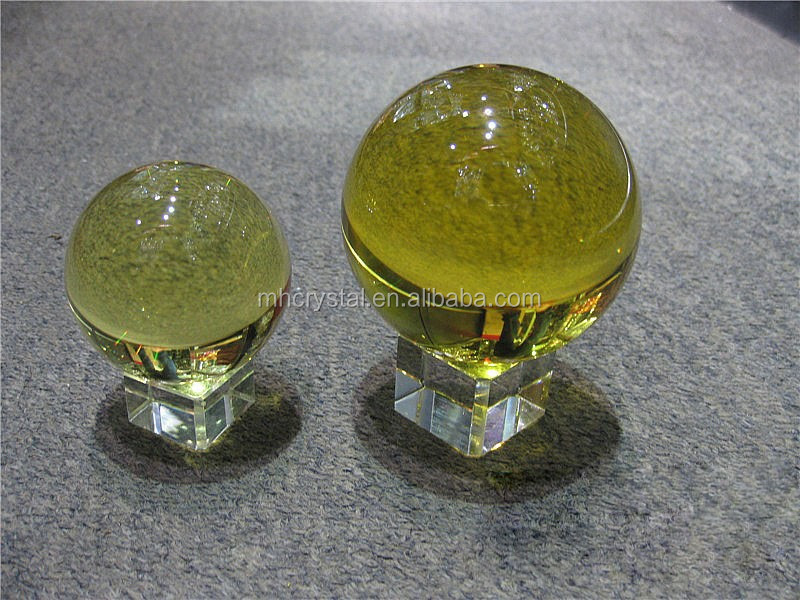 Yellow solid glass ball with base mh q buy fengshui