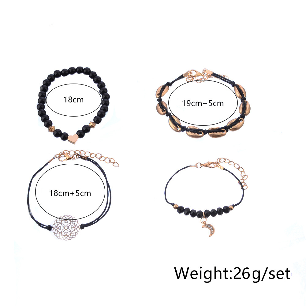 New Popular Skeleton Flower Black Beads Shell Heart Charm Bracelets Jewelry Set Moon Pendant Gold Women Bracelet Set