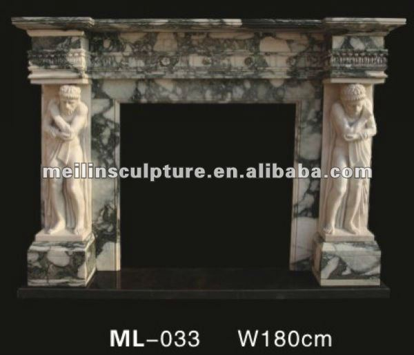Natural Carving Statuary Stone Fireplace with mixed color