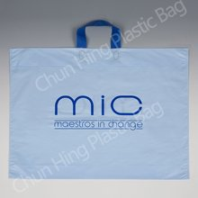 Plastic gift bag with soft loop handle