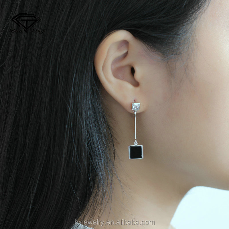 China market wholesale pretty classical black square studs earrings