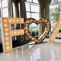 custom stainless steel light illumination LED metal marquee love letter for wedding sign