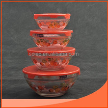 set 4pcs of glass bowl with plastic lid