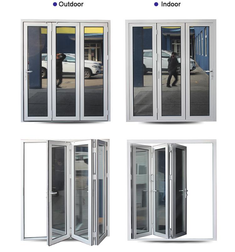 Customized Aluminum Frame Double Glazed Bi Fold Door With