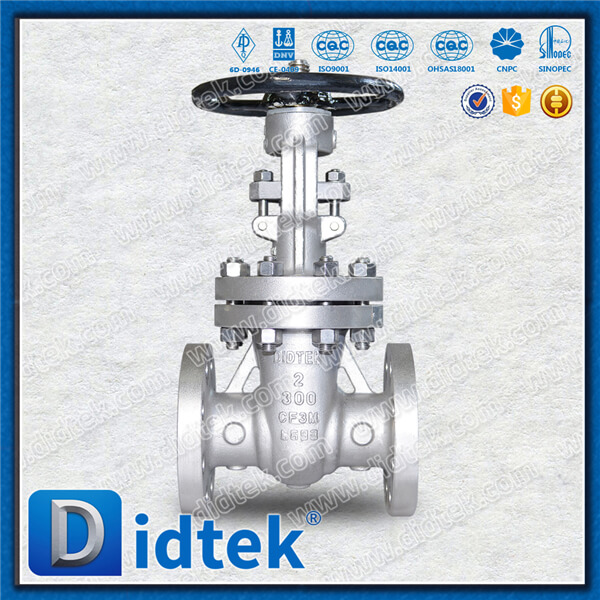 "Didtek 2"" 300LB Solid Wedged Gate Valve, <strong>Stainless</strong> Steel Renewable Seat Rings with Handwheel"