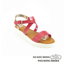 high quality best price white thick sole ankle crossing design black pvc sandals