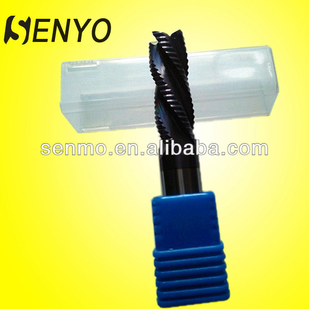 Senyo Carbide Spiral Flute Roughing End Mill Square End Cutter For Steel/Down Cut End Mill Bit
