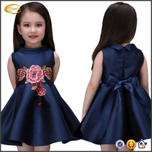 Wholesale OEM hand embroidery dresses 2016 latest designs Korean styles Sleeveless girls dresses with big flower for kids party