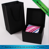 Black cardboard men's tie packaging square boxes wth lids