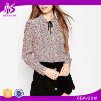 2016 Guangzhou Shandao Custom Design Autumn Long Sleeve Vintage Printed Chiffon Womens Semi Formal Tops And Blouse