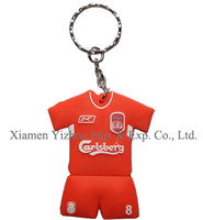 Sport style pvc keychain with metal ring
