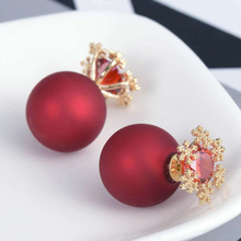2018 Top Sale fashion colored ball earring with AAA Zircon with brass earring studs for women jewelry