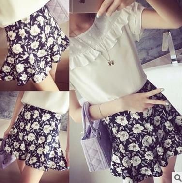 Korean ladies casual trousers fashion girl's flower print design short loose pants