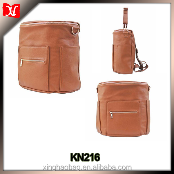 fashion brown diaper bag leather diaper backpack