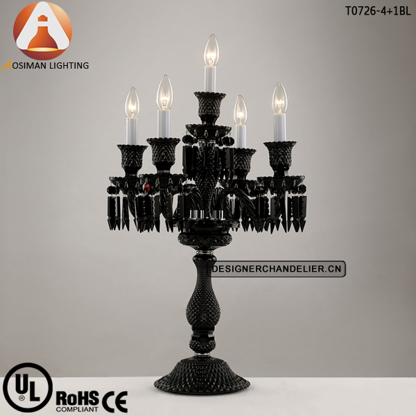 Baccarat Style Black Chandelier Table Lamp