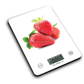 CK451 digital kitchen scale with water transfer glass printing