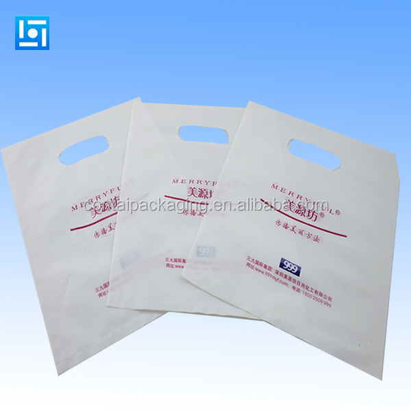 Reusable biodegradable patch handle die cut custom plastic shopping carry bag printing with factory price
