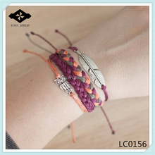 Popular Bracelet Set Anchor Wrap Owl Bracelet Multi Strand Feather Flat Braided Girls Friendship Bracelet