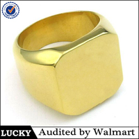 Gold supplier jewelry manufacturers wholesale gold plated stainless steel custom bulk signet mens custom ring