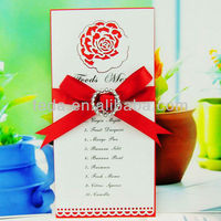 Laser cut rose flower food menu card for wedding