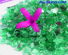 Green Colored Glass Chips and Glass Shards for Smokeless Fire Pit and Fireplace