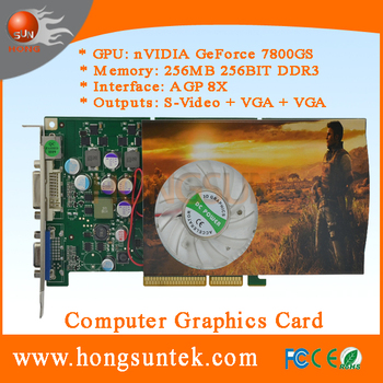 NVIDIA GeForce P492 7800GS AGP 256MB 256BIT DDR3 S-Video VGA DVI 3D Game Video Card for Sega Race TV games machines