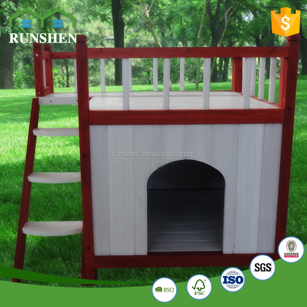 Fir Wood dog house with Stairs puppy Wood Room Staircase Pet Country Lodge 133x85x92cm unique dog kennels