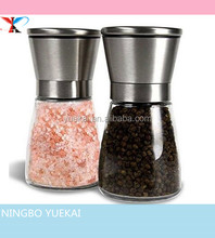 Salt and Pepper Grinder Set of 2- 18/8 Food-Safe Stainless Steel Top, Special Thickening Glass Body and Adjustable Ceramic mill