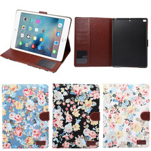 New Arrival Fancy Cloth Pattern PU Leather Protective Cover for iPad 2017 with Card Slots inside